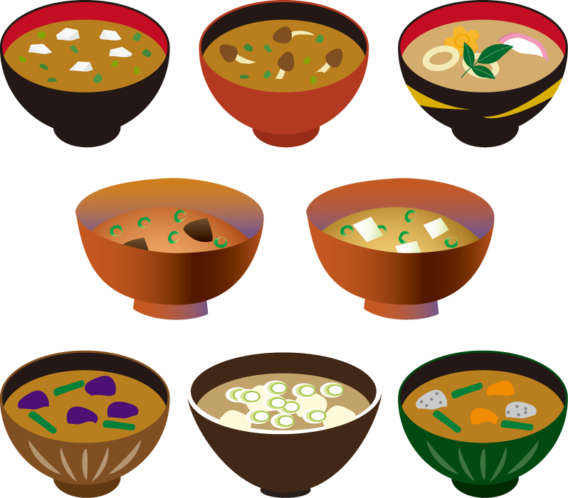 フリーイラスト 8種類の味噌汁のセット