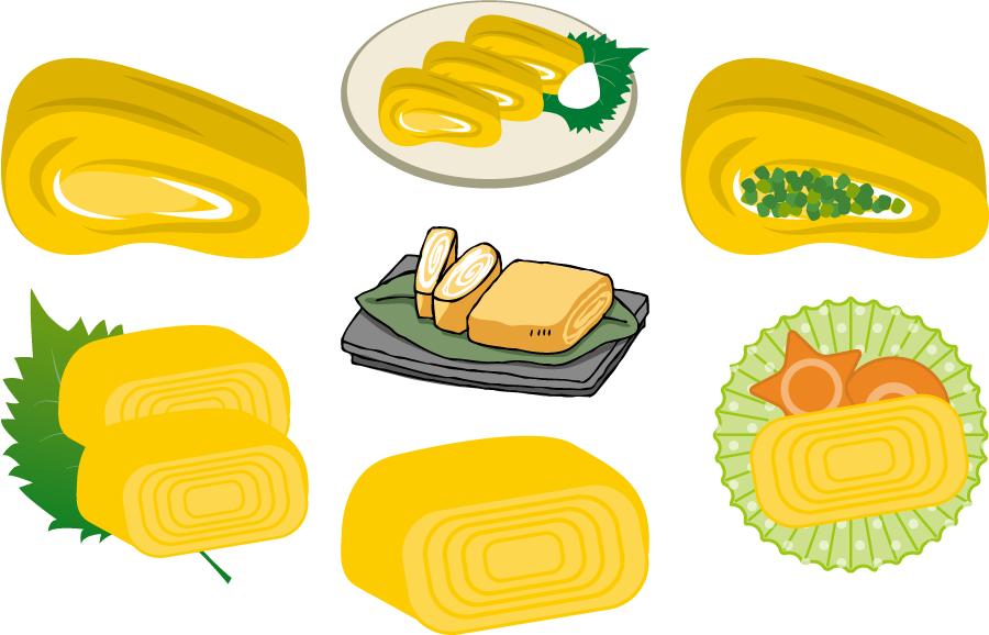 フリーイラスト 7種類の卵焼きのセット