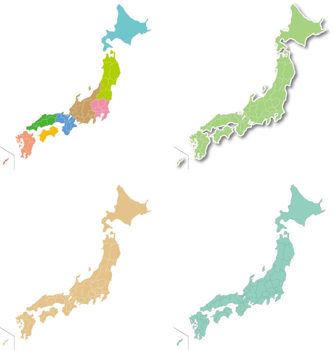 フリーイラスト 4種類の日本地図のセット