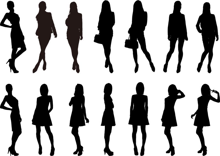 フリーイラスト 14人の女性のシルエット