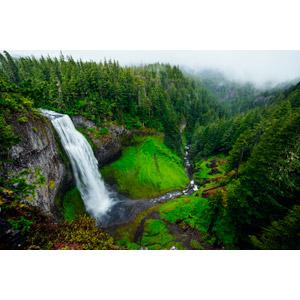フリー写真, 風景, 自然, 滝, 河川, アメリカの風景, オレゴン州, 山