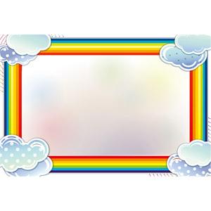 フリーイラスト, ベクター画像, EPS, 背景, フレーム, 囲みフレーム, 虹, 雲