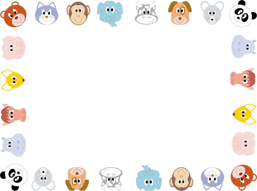 フリーイラスト 動物たちの顔の飾り枠