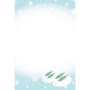 フリーイラスト, ベクター画像, EPS, 背景, フレーム, 上下フレーム, 雪, 雪うさぎ, 冬