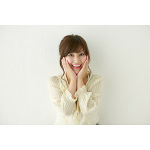 フリー写真, 人物, 女性, アジア人女性, 女性(00095), 日本人, 頬に手を当てる