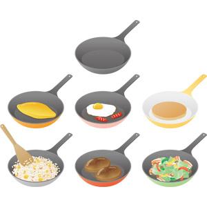 フリーイラスト, ベクター画像, AI, 調理器具, フライパン, 調理, 料理, オムレツ, 目玉焼き, パンケーキ(ホットケーキ), 炒飯(チャーハン), ハンバーグ, 野菜炒め, ソーセージ(ウィンナー), 卵料理, 米料理, 肉料理, 野菜料理, 洋菓子
