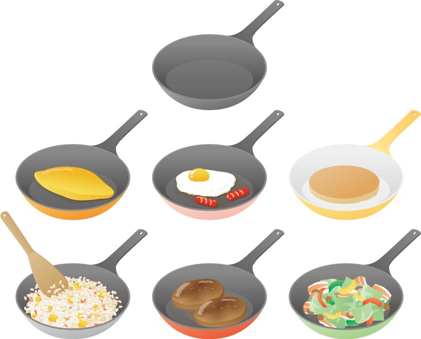 フリーイラスト 7種類のフライパンと料理のセット