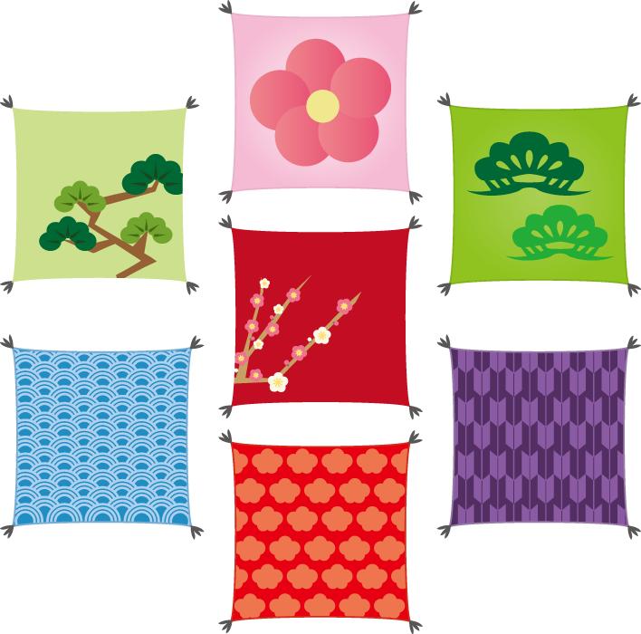 フリーイラスト 7種類の座布団のセット