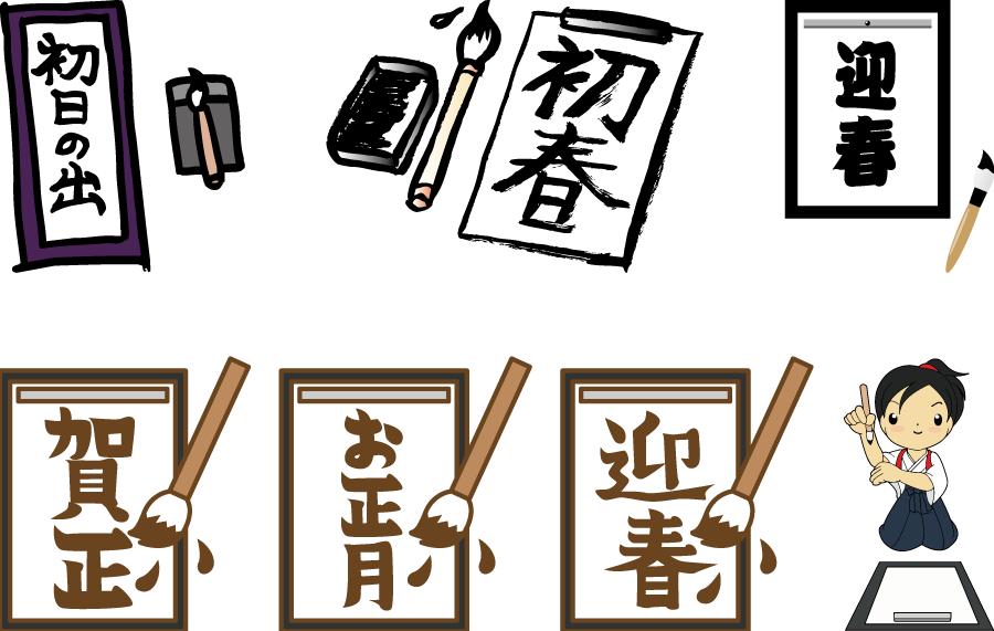 フリーイラスト 7種類の書き初めのセット
