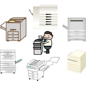 フリーイラスト, ベクター画像, AI, 家電機器, コピー機, 複合機, ビジネス, ビジネスマン, サラリーマン