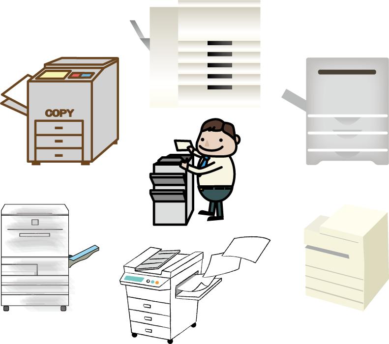 フリーイラスト 7種類のコピー機のセット