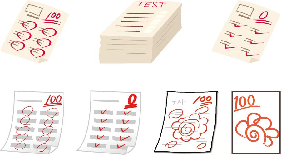 フリーイラスト 7種類のテストの答案用紙セット