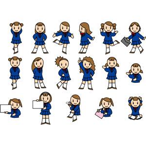 フリーイラスト, ベクター画像, EPS, 人物, 少女, 学生(生徒), 高校生, 学生服, 腰に手を当てる, 通学鞄, 案内する, メッセージボード, あぐらをかく, ナンバー1, 携帯電話