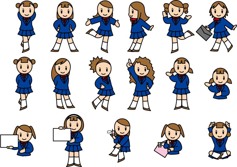 フリーイラスト 17人の女子高生のセット