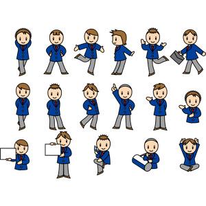 フリーイラスト, ベクター画像, EPS, 人物, 少年, 学生(生徒), 高校生, 学生服, 腰に手を当てる, 通学鞄, 案内する, メッセージボード, あぐらをかく, ナンバー1, 携帯電話