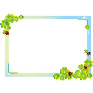 フリーイラスト, ベクター画像, EPS, 背景, フレーム, 囲みフレーム, 植物, クローバー(シロツメクサ), 四つ葉のクローバー, てんとう虫(テントウムシ)