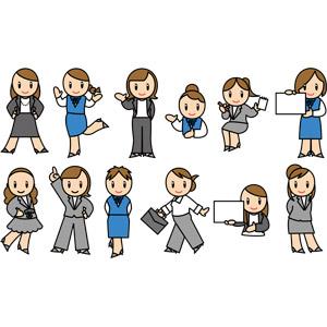 フリーイラスト, ベクター画像, EPS, 人物, 女性, ビジネス, ビジネスウーマン, OL(オフィスレディ), 職業, 仕事, 腰に手を当てる, 案内する, メッセージボード, ナンバー1, ブリーフケース, レディーススーツ, メモ帳, 事務服