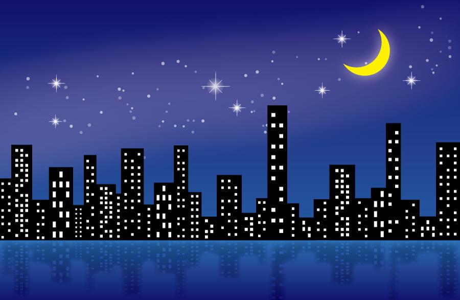 フリーイラスト 星空と三日月と夜の都市の街並み