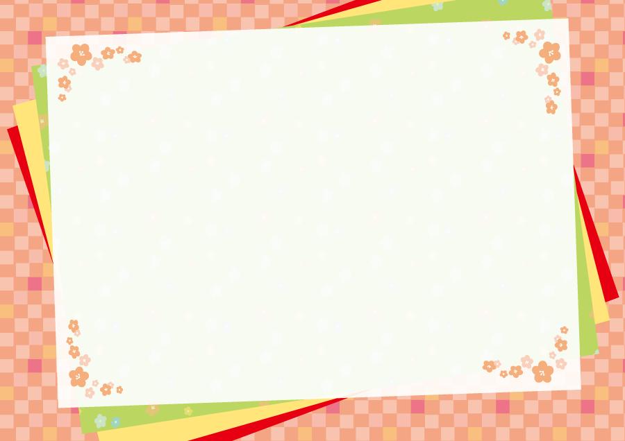 フリーイラスト 梅の花と市松模様のメッセージカード