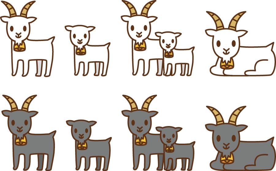フリーイラスト 8種類のヤギのセット