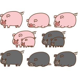 フリーイラスト, ベクター画像, AI, 動物, 哺乳類, 豚(ブタ), 子供(動物), 親子(動物), 寝る(動物)