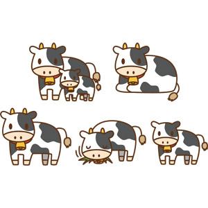 フリーイラスト, ベクター画像, AI, 動物, 哺乳類, 牛(ウシ), 子供(動物), 親子(動物), 食べる(動物), ホルスタイン