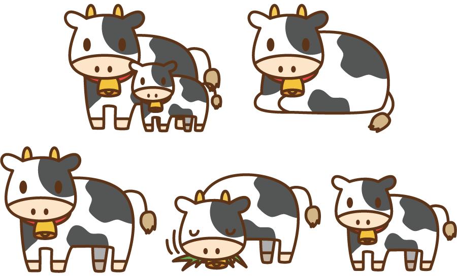 フリーイラスト 5種類の乳牛のセット