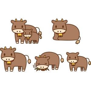 フリーイラスト, ベクター画像, AI, 動物, 哺乳類, 牛(ウシ), 子供(動物), 親子(動物), 食べる(動物)