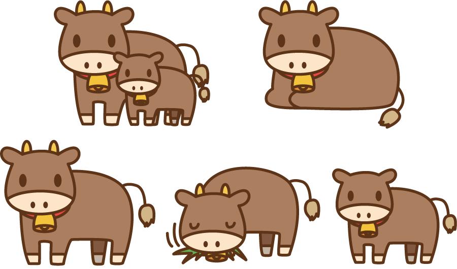 フリーイラスト 5種類の肉牛のセット
