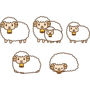 フリーイラスト, ベクター画像, AI, 動物, 哺乳類, 羊(ヒツジ), 子供(動物), 親子(動物), 寝る(動物)