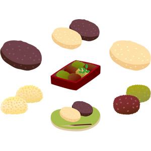 フリーイラスト, ベクター画像, AI, 食べ物(食料), 菓子, 和菓子, おはぎ(ぼたもち), 米料理, 餅菓子