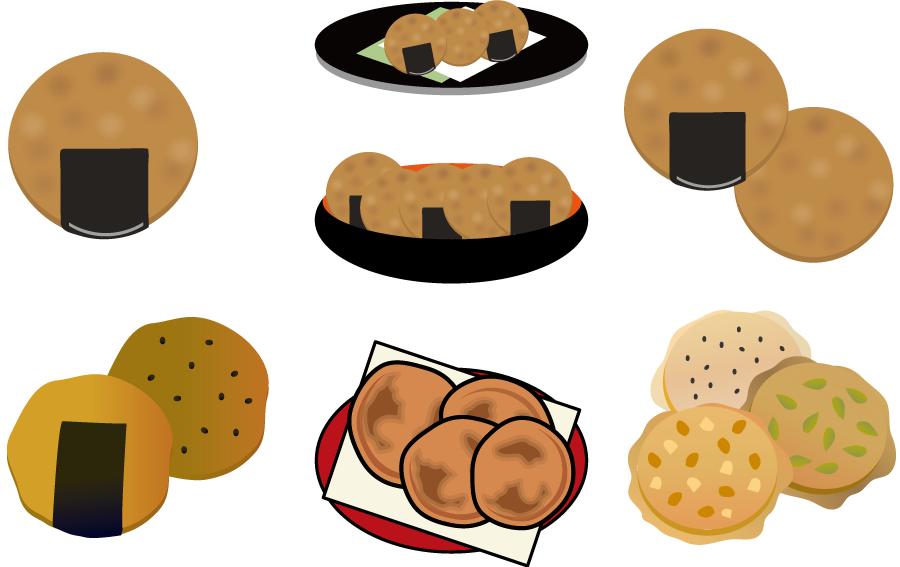 フリーイラスト 7種類のせんべいのセット