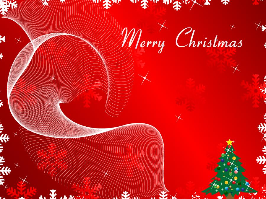 フリーイラスト ツリーと雪の結晶のクリスマス背景