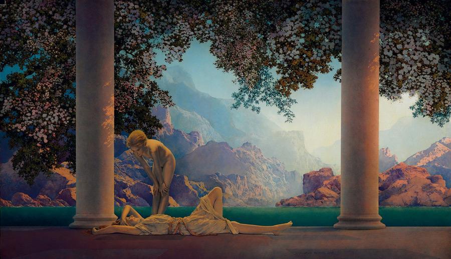 フリー絵画 マックスフィールド・パリッシュ作「夜明け」