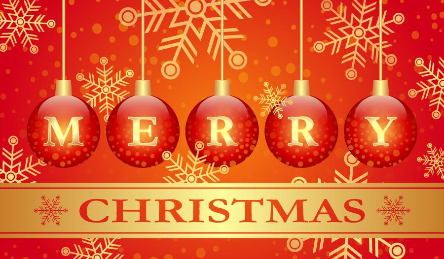 フリーイラスト オーナメントボールと雪の結晶のクリスマス背景