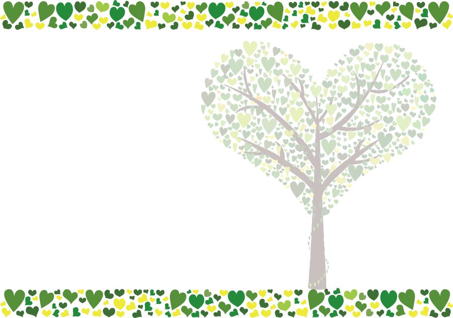 フリーイラスト ハートの木と緑色のハートの飾り枠