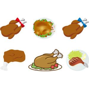 フリーイラスト, ベクター画像, AI, 食べ物(食料), 料理, 肉料理, ローストターキー, ローストチキン, 七面鳥, 鶏肉料理, 年中行事, クリスマス, 12月, 11月, 10月, 感謝祭