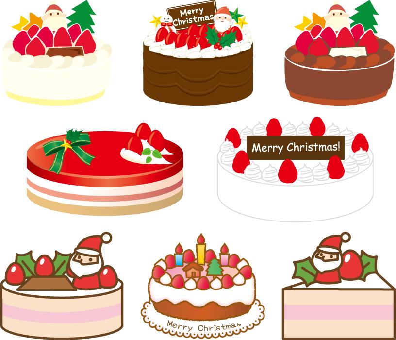 フリーイラスト 8種類のクリスマスケーキのセット