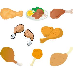 フリーイラスト, ベクター画像, AI, 食べ物(食料), 料理, 揚げ物, 鶏料理, ファーストフード, フライドチキン, から揚げ(唐揚げ)