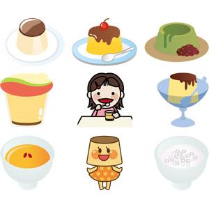 フリーイラスト, ベクター画像, AI, 食べ物(食料), 菓子, 洋菓子, プリン, 食べる, 子供, 女の子, マンゴー, 抹茶, タピオカ