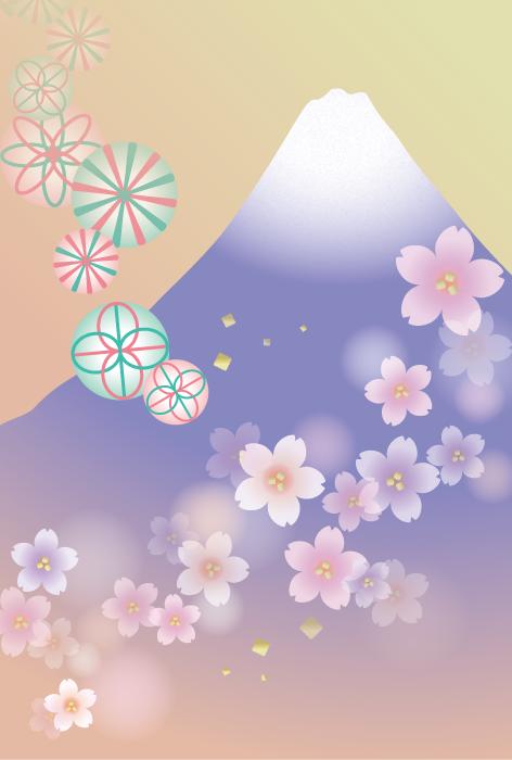 フリーイラスト 富士山と桜の花と毬の背景