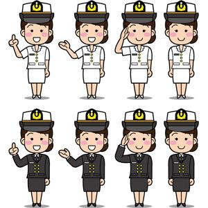 フリーイラスト, ベクター画像, EPS, 人物, 女性, 職業, 仕事, 自衛隊, 自衛隊員(自衛官), ワンポイントアドバイス, 案内する, 敬礼