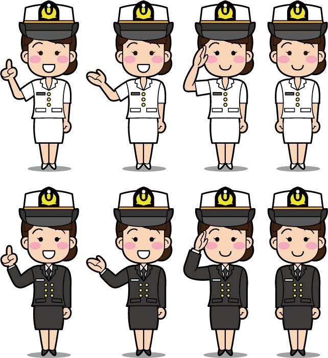 フリーイラスト 8種類の制服姿の女性海上自衛官のセット