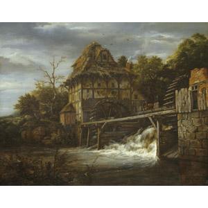 フリー絵画, ヤーコプ・ファン・ロイスダール, 風景画, 建造物, 建築物, 小屋(納屋), 水車