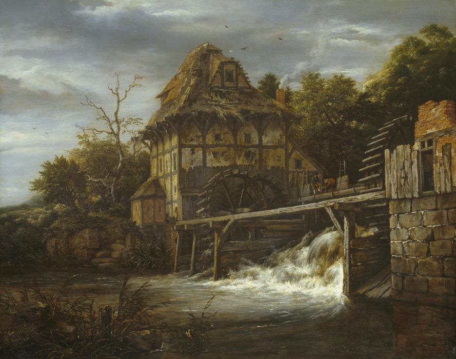 フリー絵画 ヤーコプ・ファン・ロイスダール作「水門を開ける男たちと二つの水車」