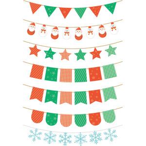 フリーイラスト, ベクター画像, AI, 旗(フラッグ), フラッグガーランド, 飾り(装飾), 年中行事, クリスマス, 12月, 冬, 雪の結晶