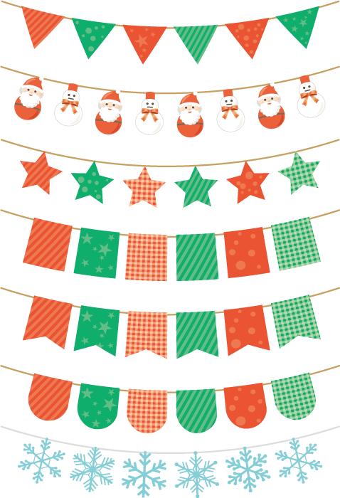 フリーイラスト 7種類のクリスマス用のフラッグガーランドのセット