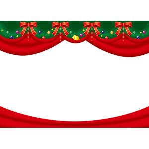 フリーイラスト, ベクター画像, AI, 背景, フレーム, 上下フレーム, 年中行事, クリスマス, 12月, 蝶リボン, 舞台幕, クリスマスボール