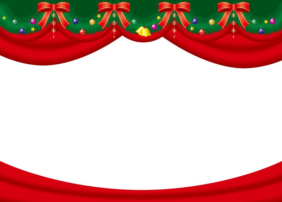 フリーイラスト レッドカーテンとリボンのクリスマスの飾り枠