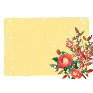 フリーイラスト, ベクター画像, AI, 背景, フレーム, 囲みフレーム, 植物, 花, 椿(ツバキ), 南天, 雪, 冬